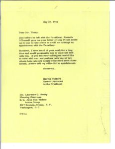 Harris Wofford replies May 29, 1961 to Laurence Henry's request for a meeting.